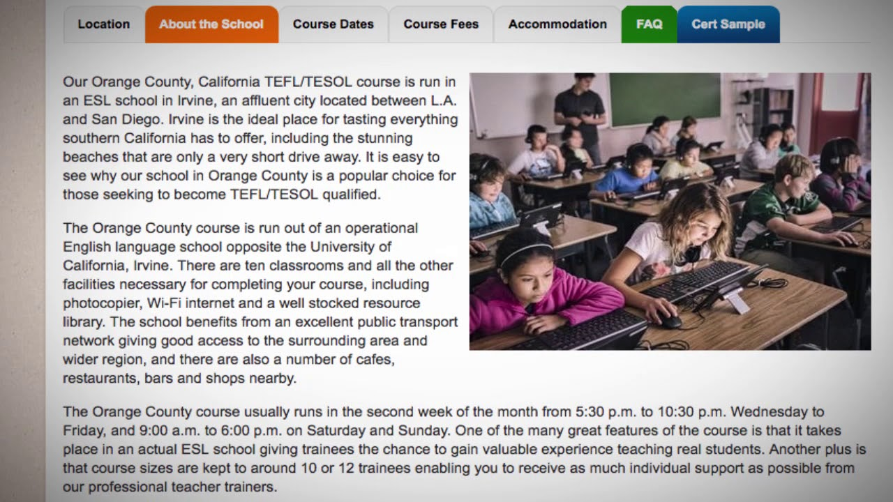 Welcome to Our TEFL / TESOL School in Orange County, USA | Teach & Live abroad!