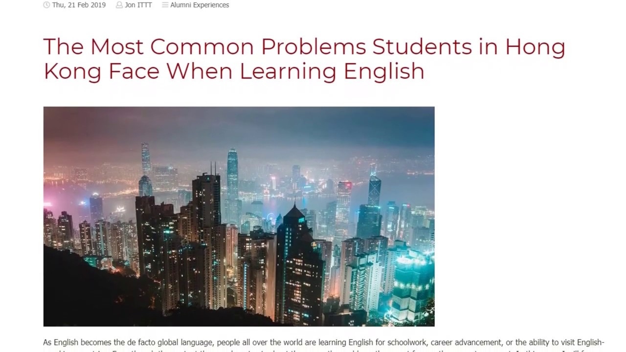 The Most Common Problems Students in Hong Kong Face When Learning English | ITTT TEFL BLOG