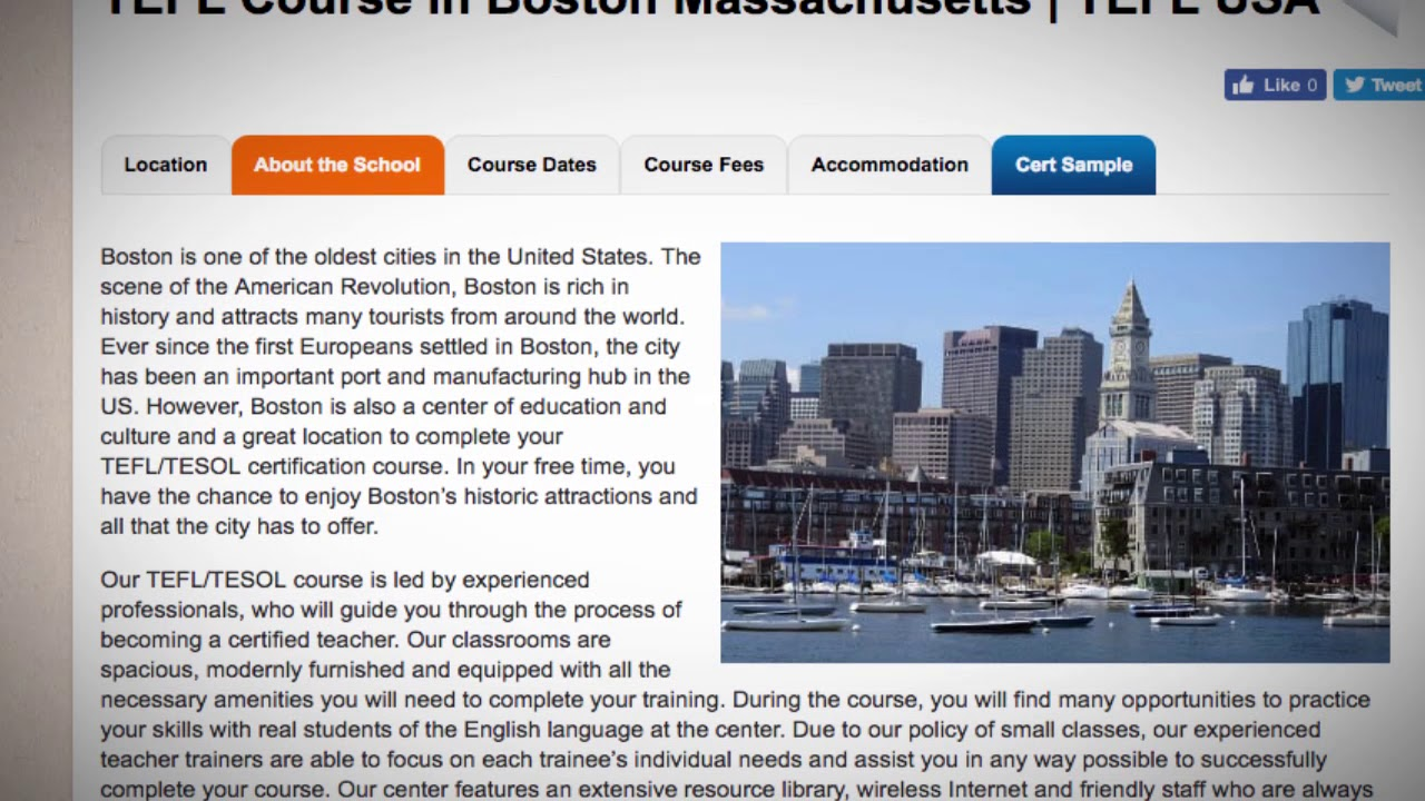 Welcome to Our TEFL / TESOL School in Boston, USA   Teach & Live abroad!
