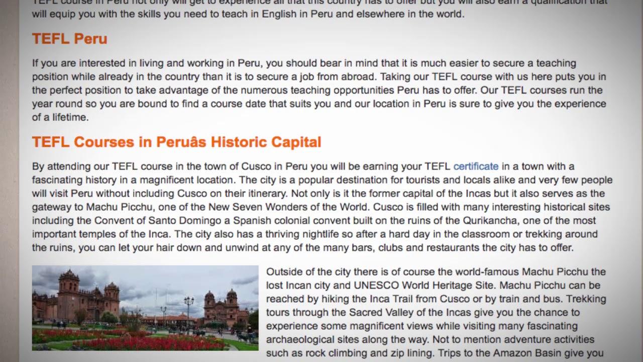 TEFL / TESOL Course in Peru   Teach & Live abroad!