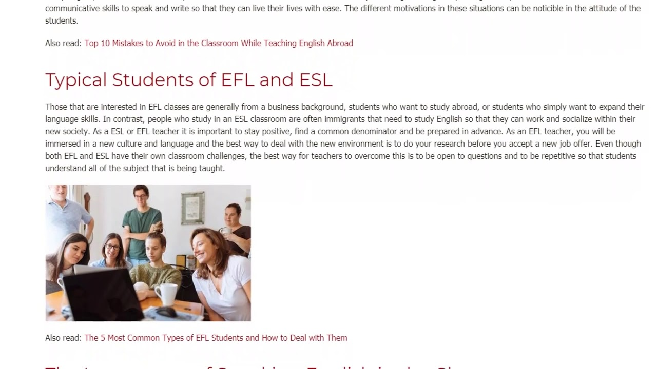 The Difference Between Teaching ESL and Teaching EFL   ITTT TEFL BLOG