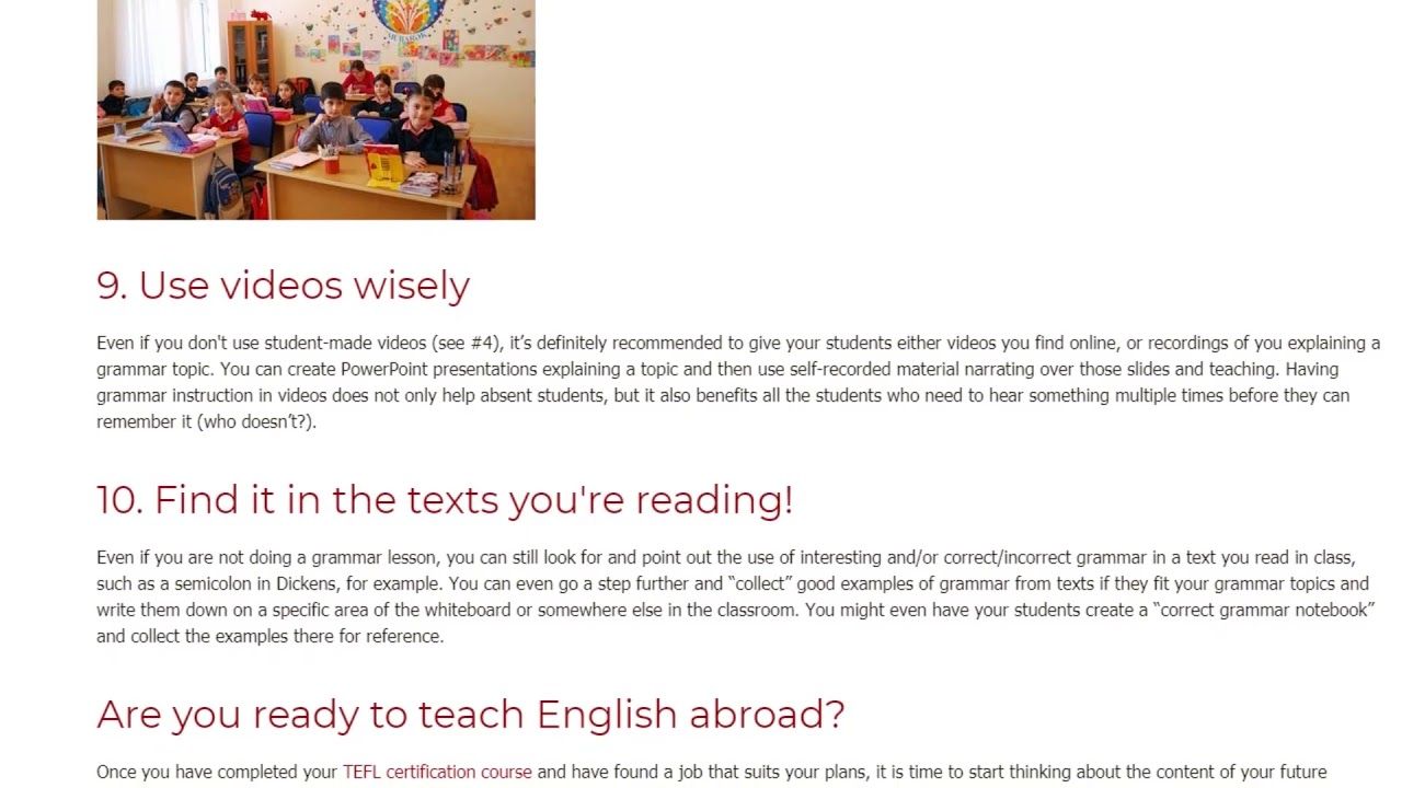 10 Tips for Teaching Grammar to EFL Students Abroad | ITTT TEFL BLOG