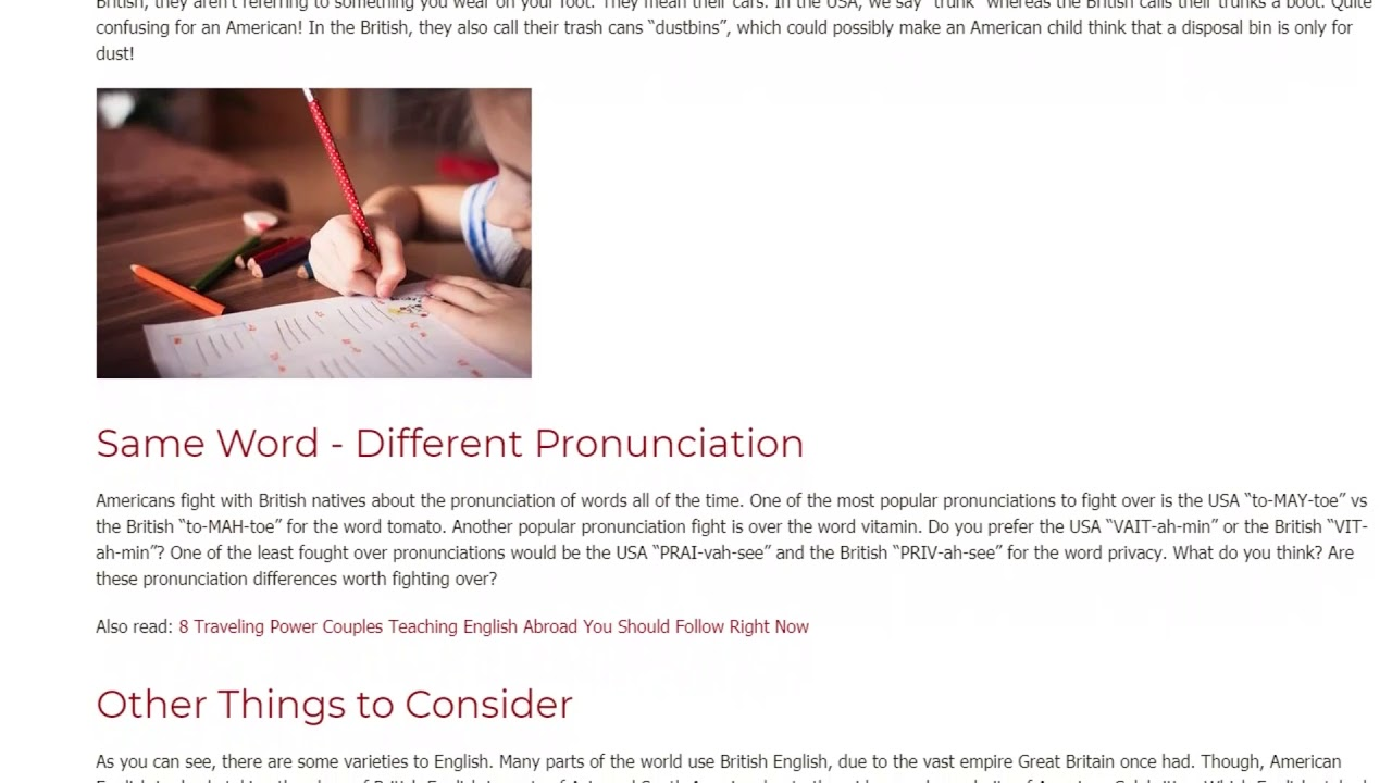 The Most Distinct Differences between American and British English | ITTT TEFL BLOG