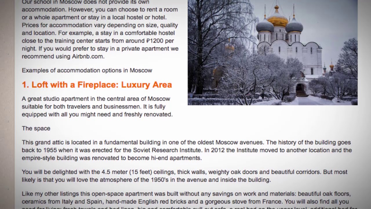 TEFL / TESOL School Accommodation in Moscow, Russia   Teach & Live abroad!