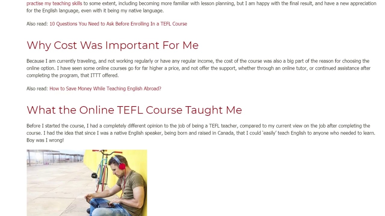 Why I Chose an Online TEFL Course Instead of an In-Class TEFL Course | ITTT TEFL BLOG
