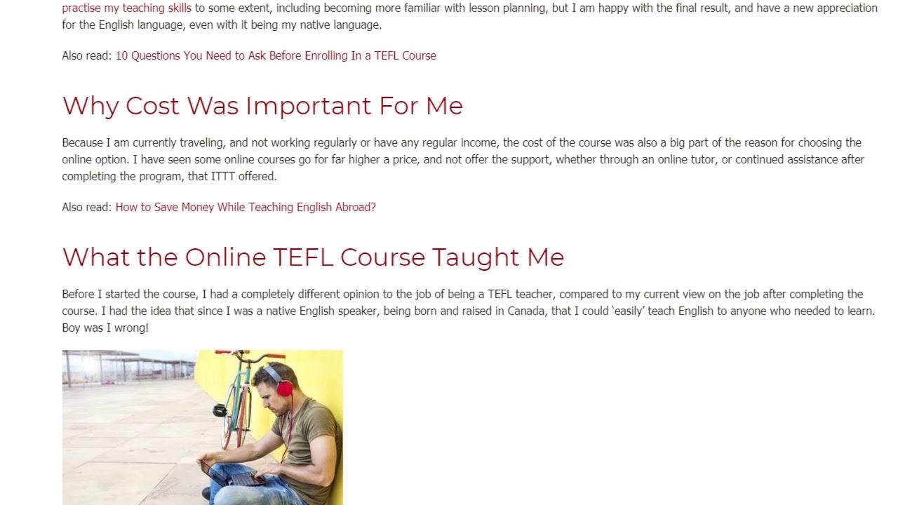 Why I Chose an Online TEFL Course Instead of an In-Class TEFL Course | ITTT TEFL BLOG