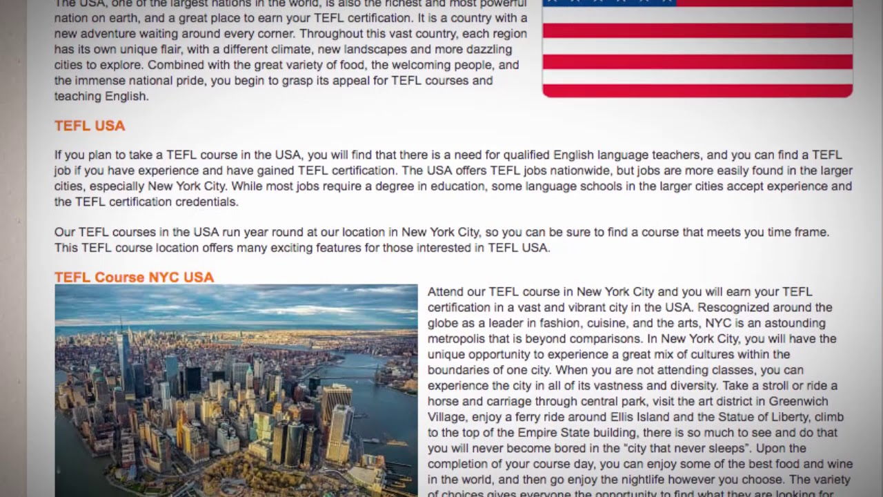 TESOL Course in the USA | Teach & Live abroad!