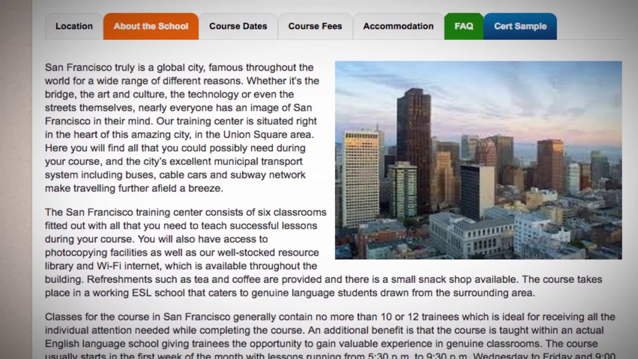Welcome to Our TEFL / TESOL School in San Francisco, USA   Teach & Live abroad!