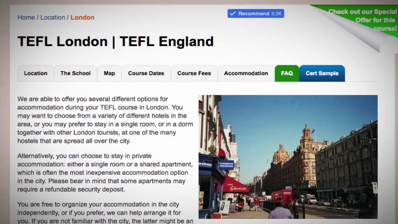 TEFL / TESOL School Accommodation in London, England   Teach & Live abroad!