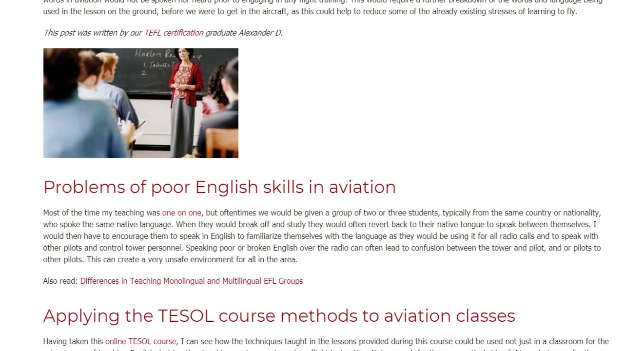 My Personal Teaching Experience in the Aviation Industry | ITTT TEFL BLOG