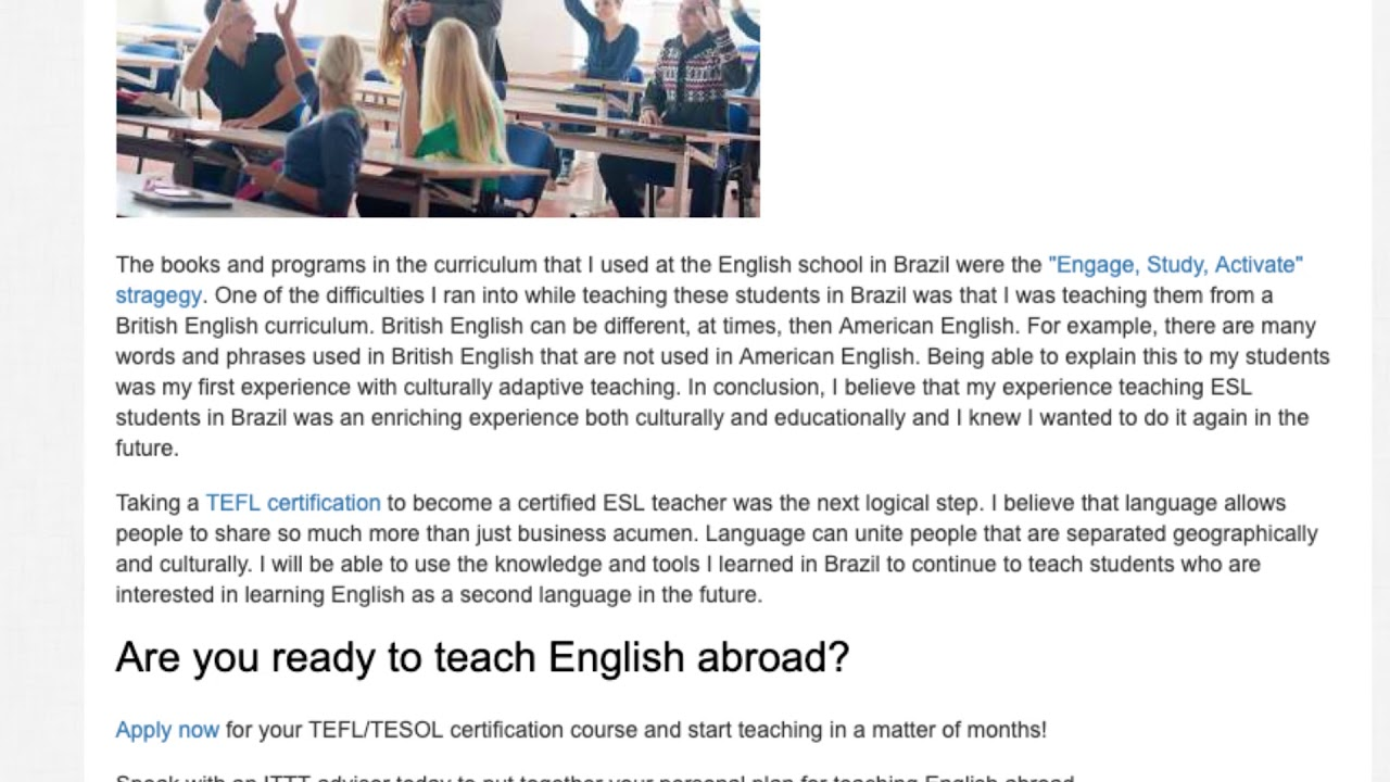How Teaching English In Brazil Inspired Me To Pursue A Teaching Career | ITTT TEFL BLOG