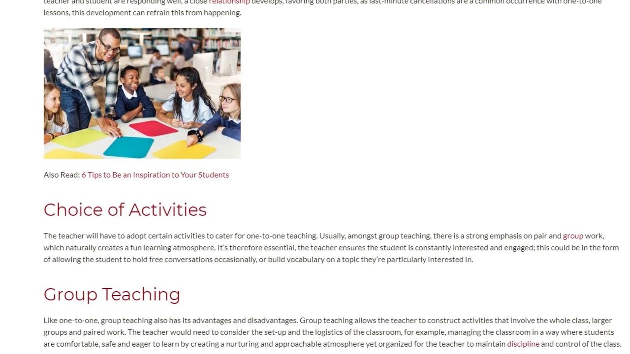 Teaching Private Classes vs. Working With Bigger Groups | ITTT TEFL BLOG