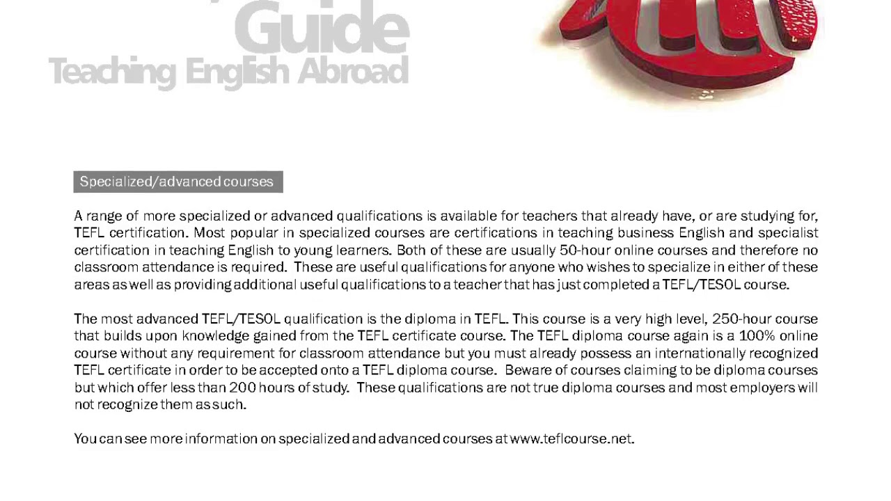 TEFL/TESOL Guide – Specialized Courses   International TEFL and TESOL Training (ITTT)