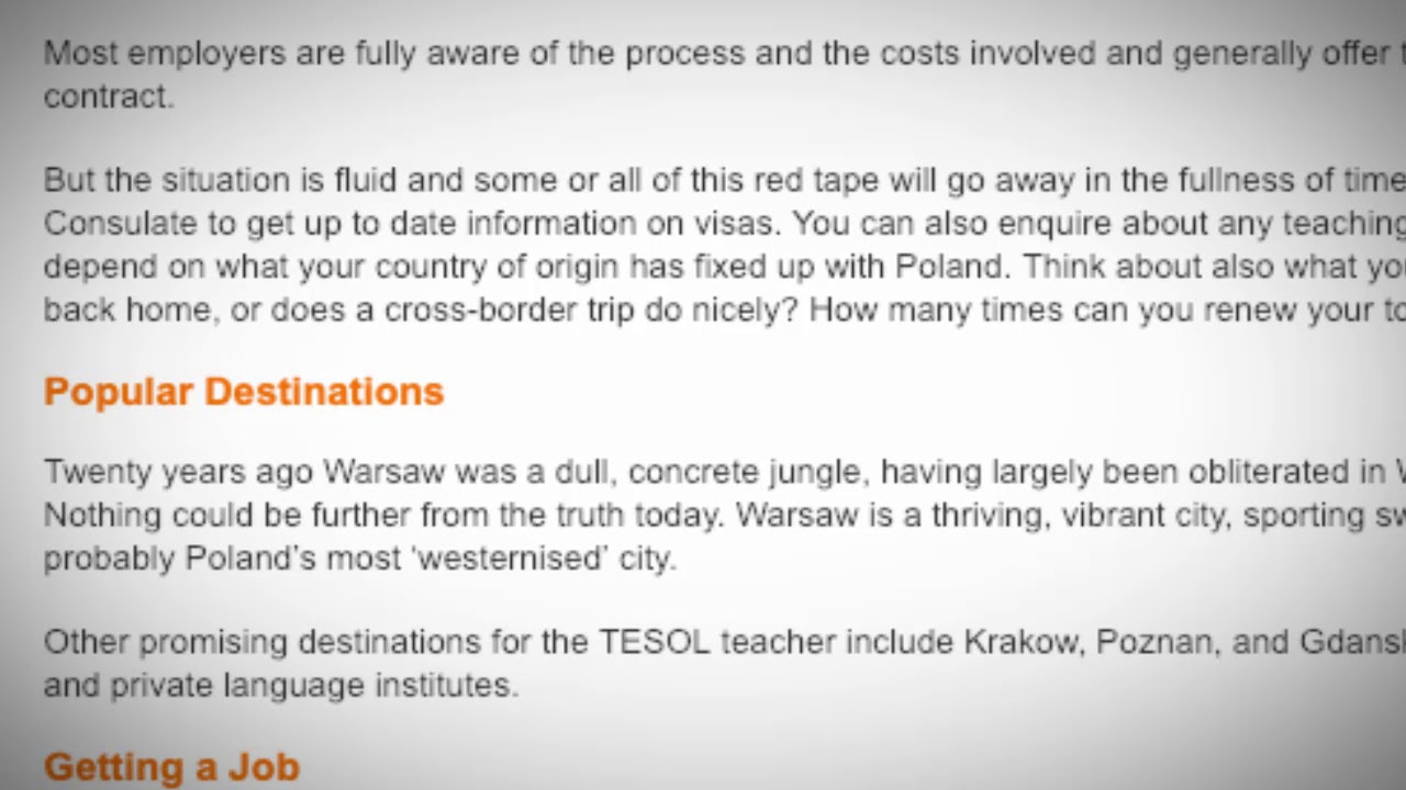 TESOL Jobs in Poland | International TEFL and TESOL Training (ITTT)