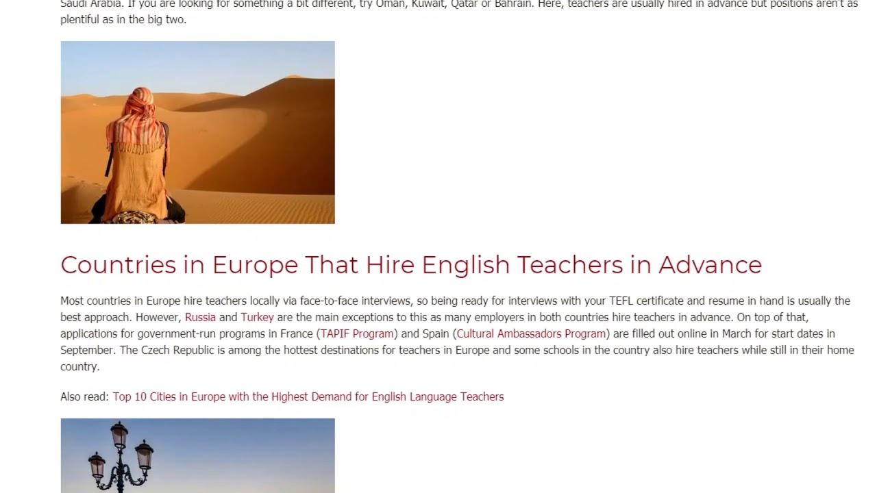 Top TEFL Countries That Hire Teachers in Advance   ITTT TEFL BLOG