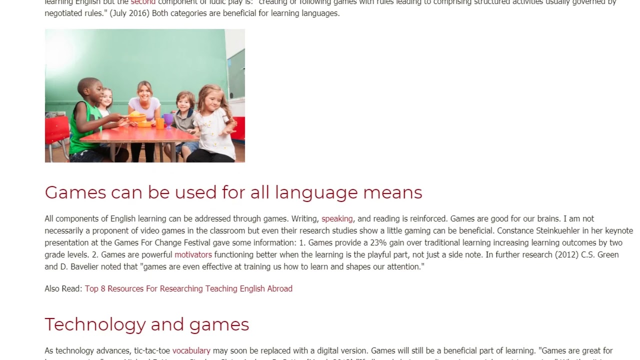 Games in The Classroom as The Best Source of Language Learning | ITTT TEFL BLOG