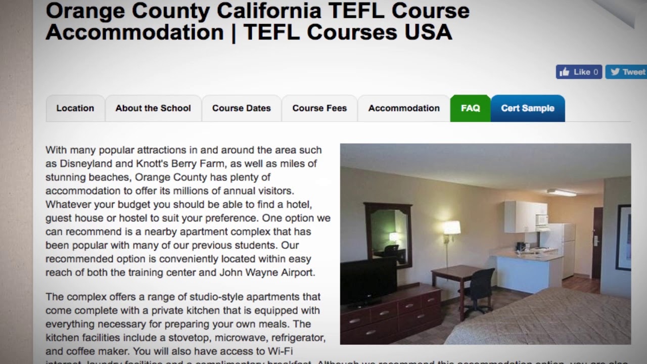 TEFL / TESOL School Accommodation in Orange County, USA | Teach & Live abroad!