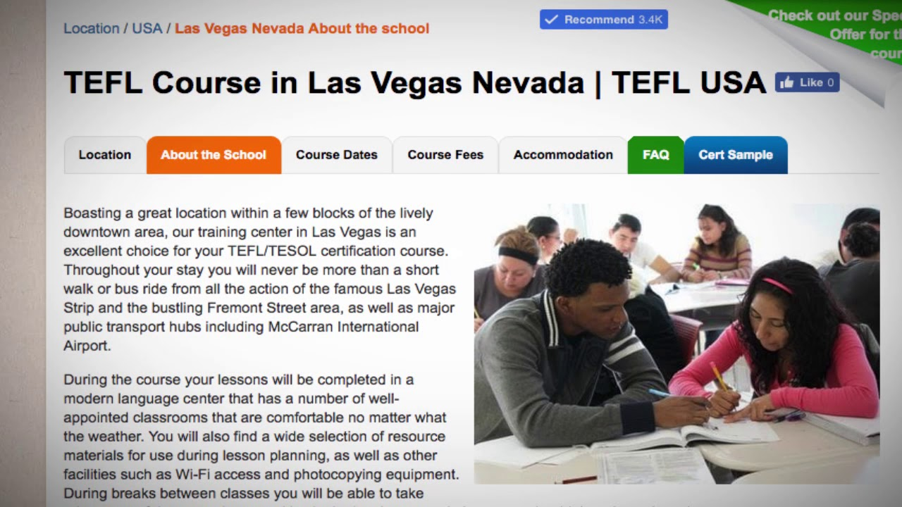 Welcome to Our TEFL / TESOL School in Las Vegas, USA   Teach & Live abroad!