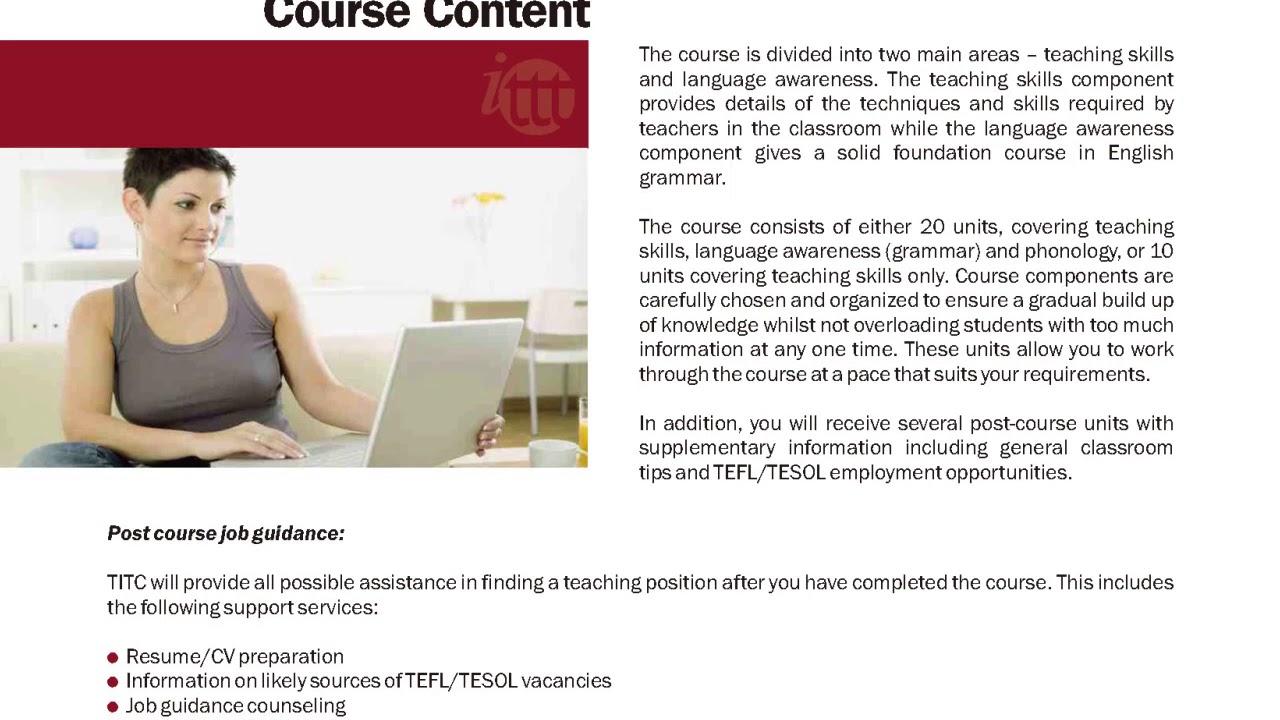 International TEFL and TESOL Training (ITTT)   Online TEFL/TESOL Certificate Course Content
