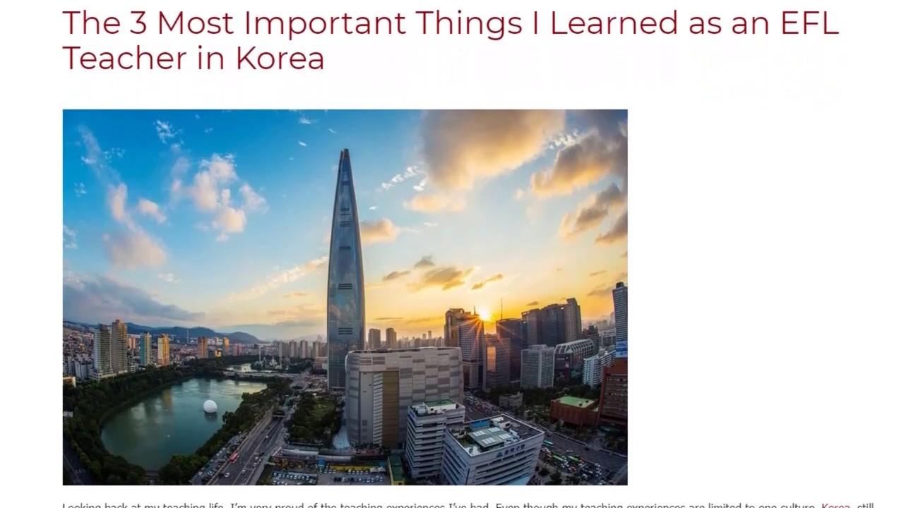 The 3 Most Important Things I Learned as an EFL Teacher in Korea   ITTT TEFL BLOG