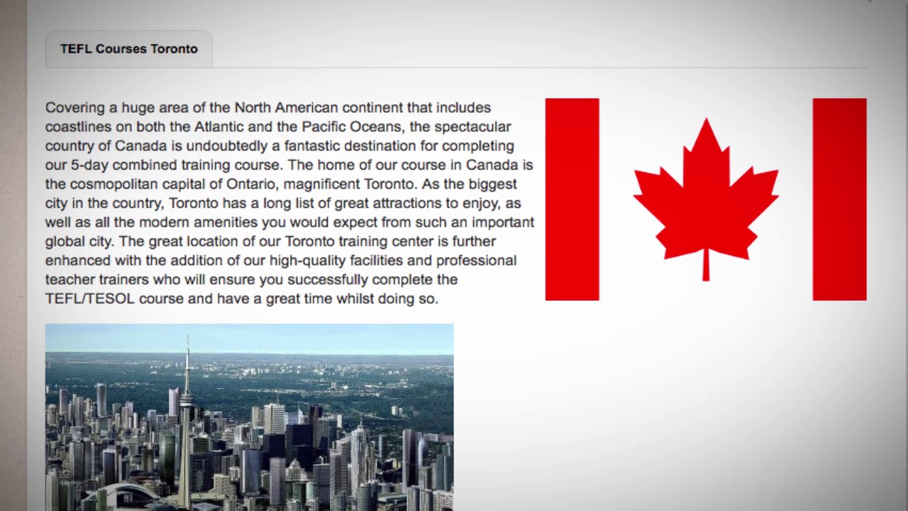 TEFL / TESOL Course in Canada   Teach & Live abroad!