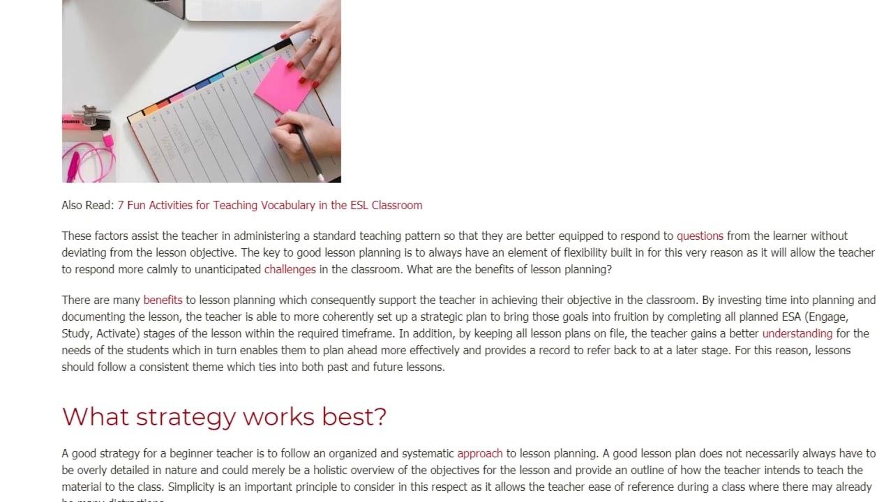 Why Preparing a Plan is Compulsory for New Teachers | ITTT TEFL BLOG