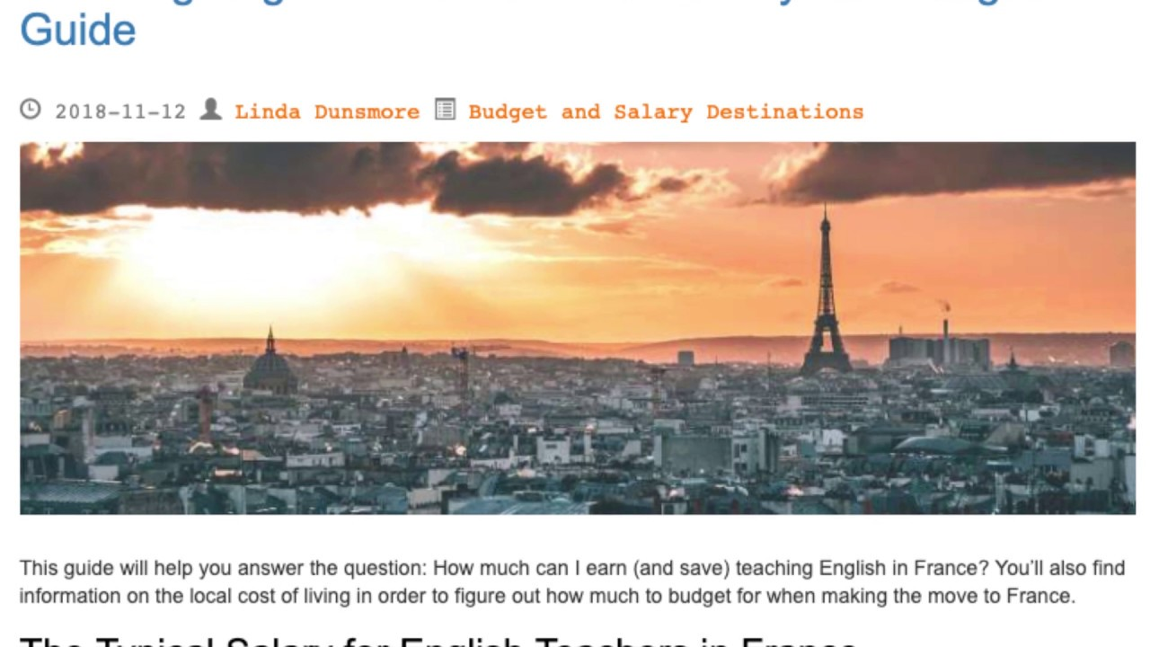 Teaching English in France – The Salary and Budget Guide | ITTT TEFL BLOG