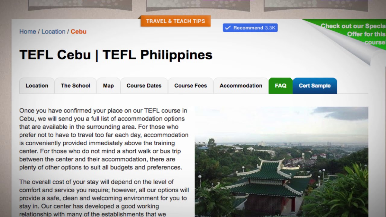 TEFL / TESOL School Accommodation in Cebu, Philippines   Teach & Live abroad!