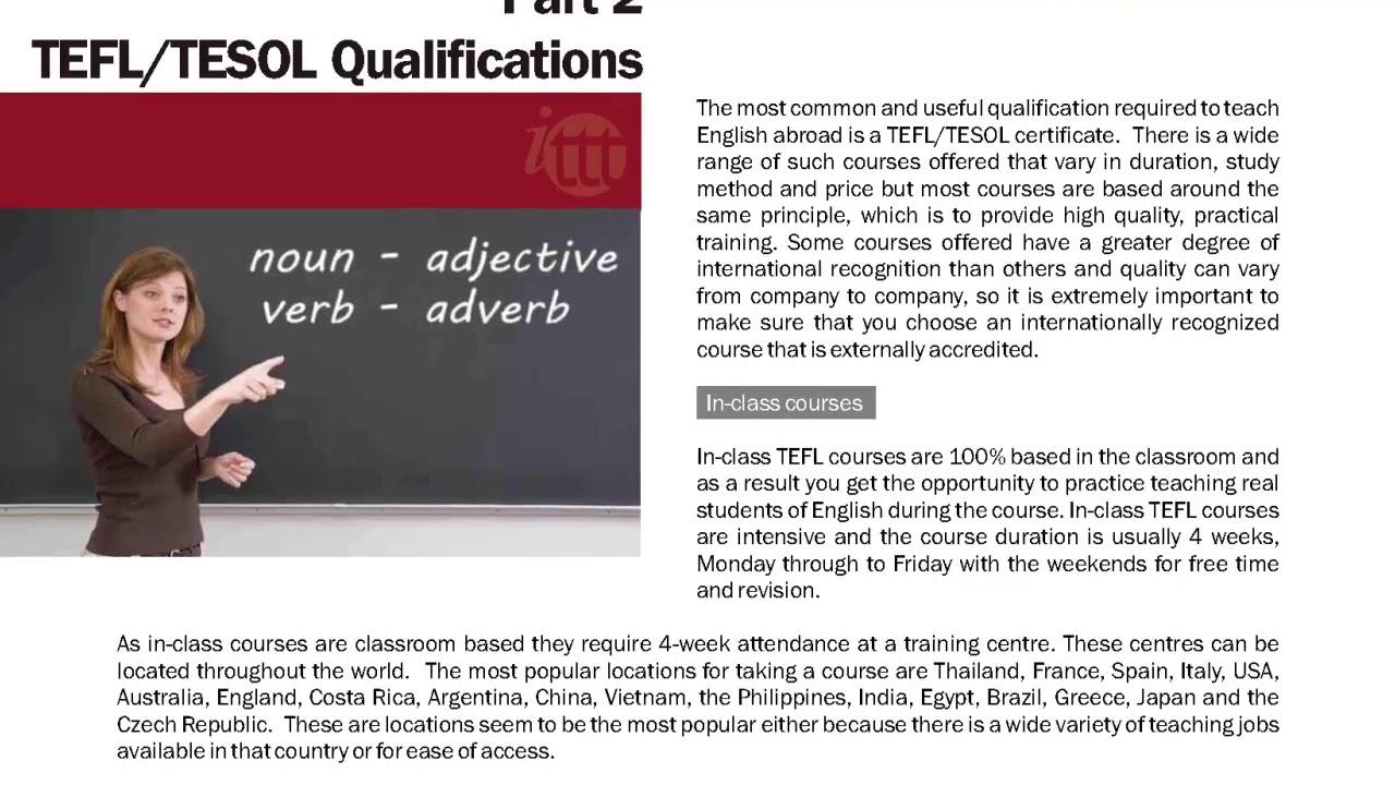 TEFL/TESOL Guide – Qualifications | International TEFL and TESOL Training (ITTT)