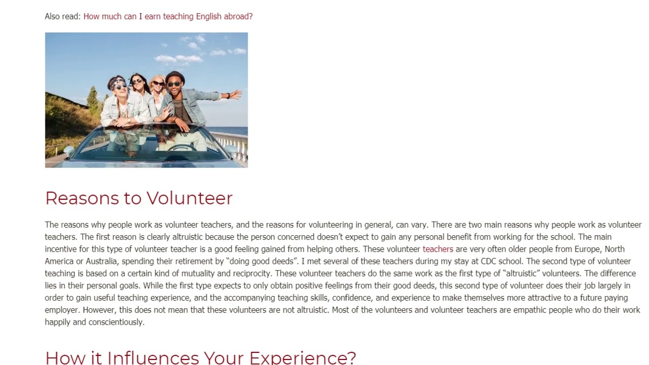 Pros to Become a Volunteer English Teacher | ITTT TEFL BLOG