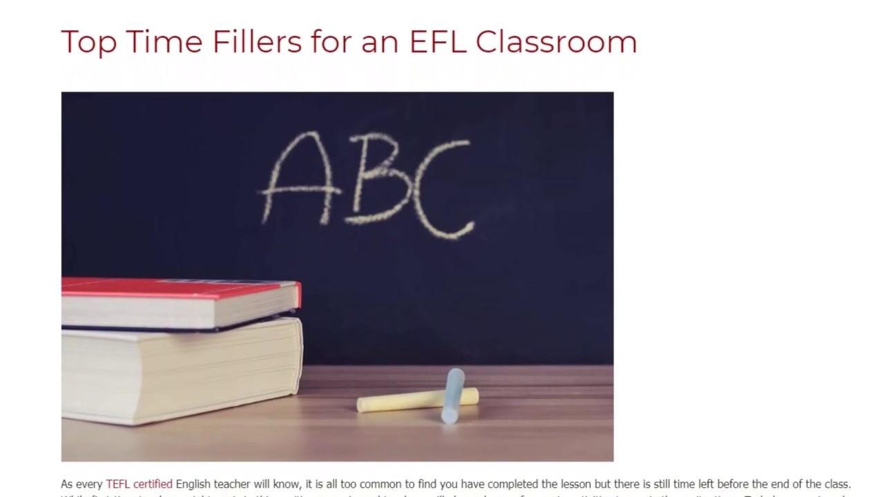 Top Time Fillers for an EFL Classroom | ITTT TEFL BLOG