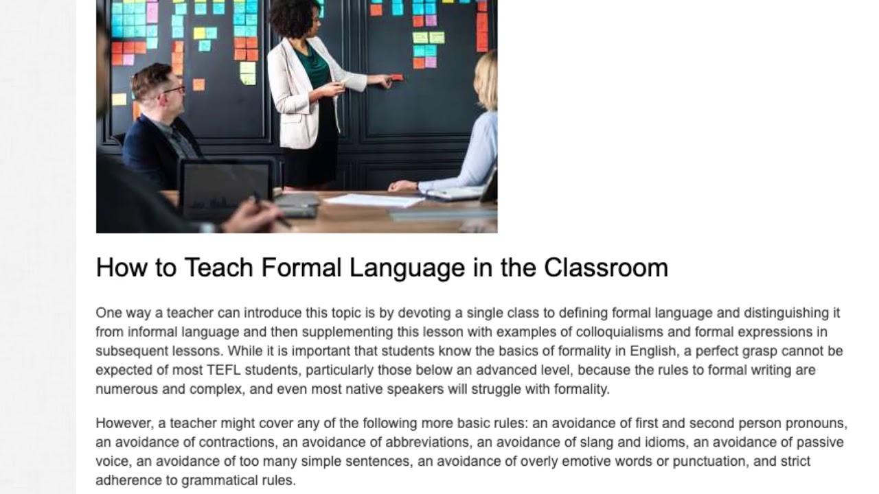 Teaching Formal and Informal Language in the ESL Classroom | ITTT TEFL BLOG