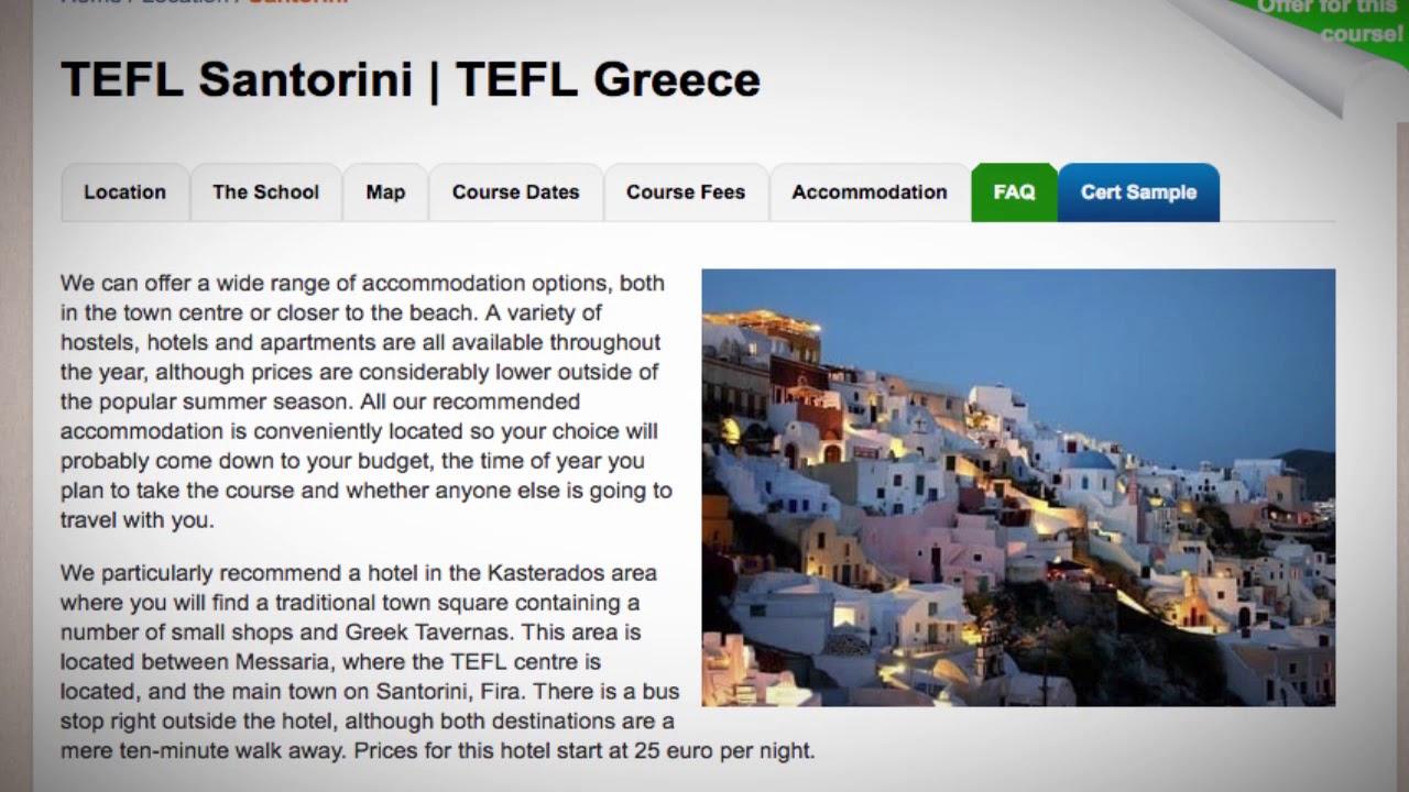 TEFL / TESOL School Accommodation in Santorini, Greece | Teach & Live abroad!