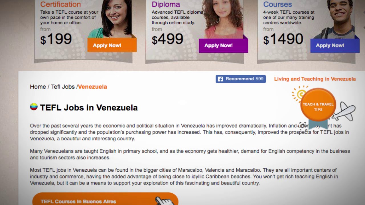 TEFL/TESOL Jobs in Venezuela   International TEFL and TESOL Training (ITTT)