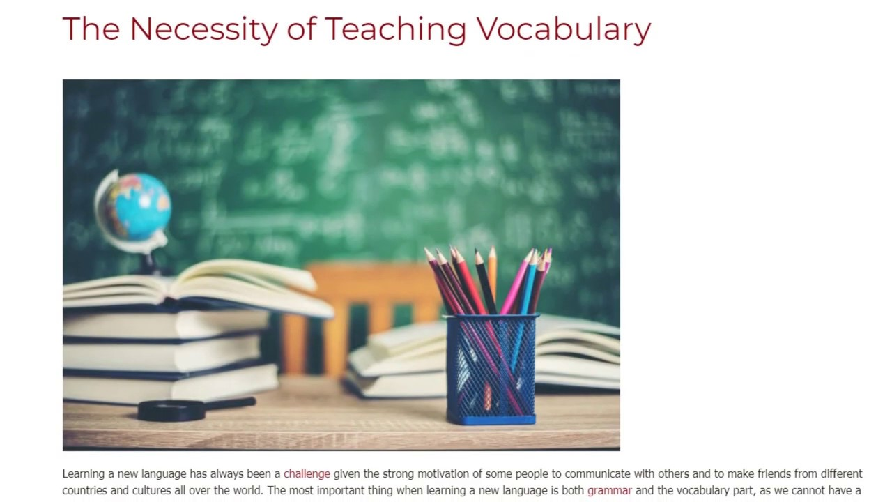 The Necessity of Teaching Vocabulary | ITTT TEFL BLOG