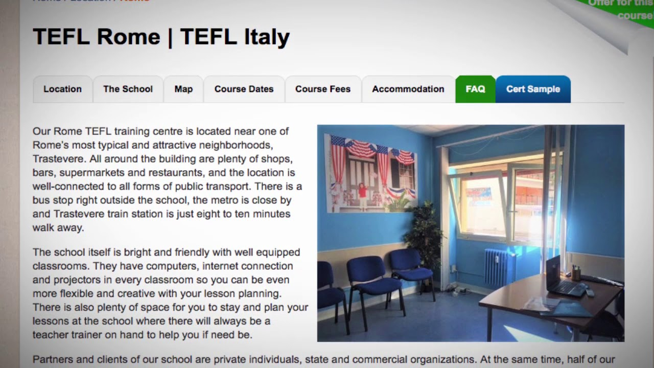 Welcome to Our TEFL / TESOL School in Rome, Italy | Teach & Live abroad!